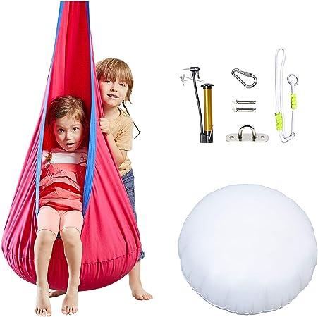 Amazon Com Happy Pie Play Adventure Kids Pod Swing Chair Child Hanging Chair Indoor And Outdoor Sensory Hammock Magenta Garden Outdoor