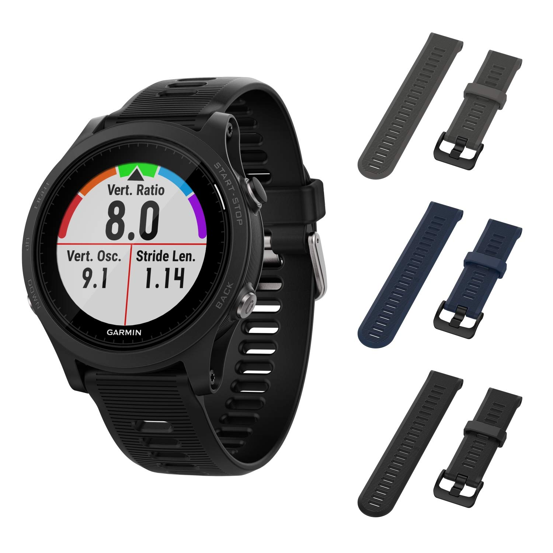Garmin Forerunner 945 GPS Running Smartwatch with Included Wearable4U 3 Straps Bundle (Slate/Navy Blue/Black) by Wearable4U