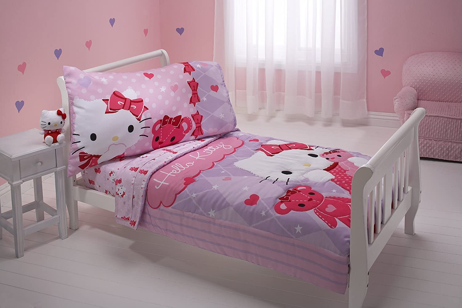amazoncom sanrio 4 piece toddler bedding set hello kitty and friends hello kitty toddler bedroom baby