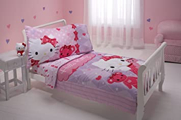 Bon Sanrio 4 Piece Toddler Bedding Set, Hello Kitty And Friends