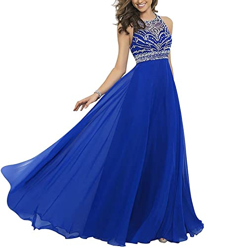 Elegant Chiffon Sparkly Beading A-line Sweep Train Prom Dresses Royal Blue US 2-