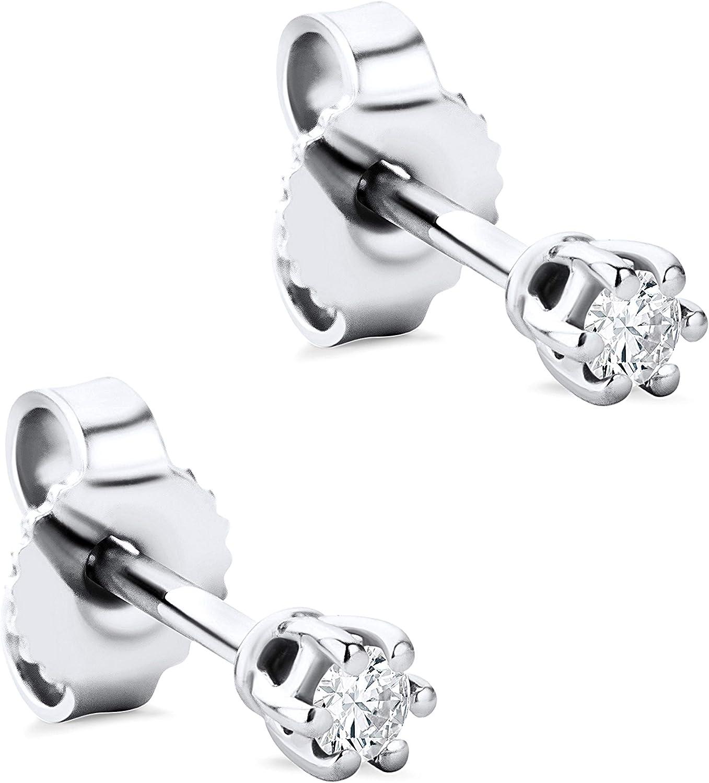 Orovi - Pendientes para mujer con diamantes de oro blanco de 9 quilates (375) y diamante de 0,08 quilates