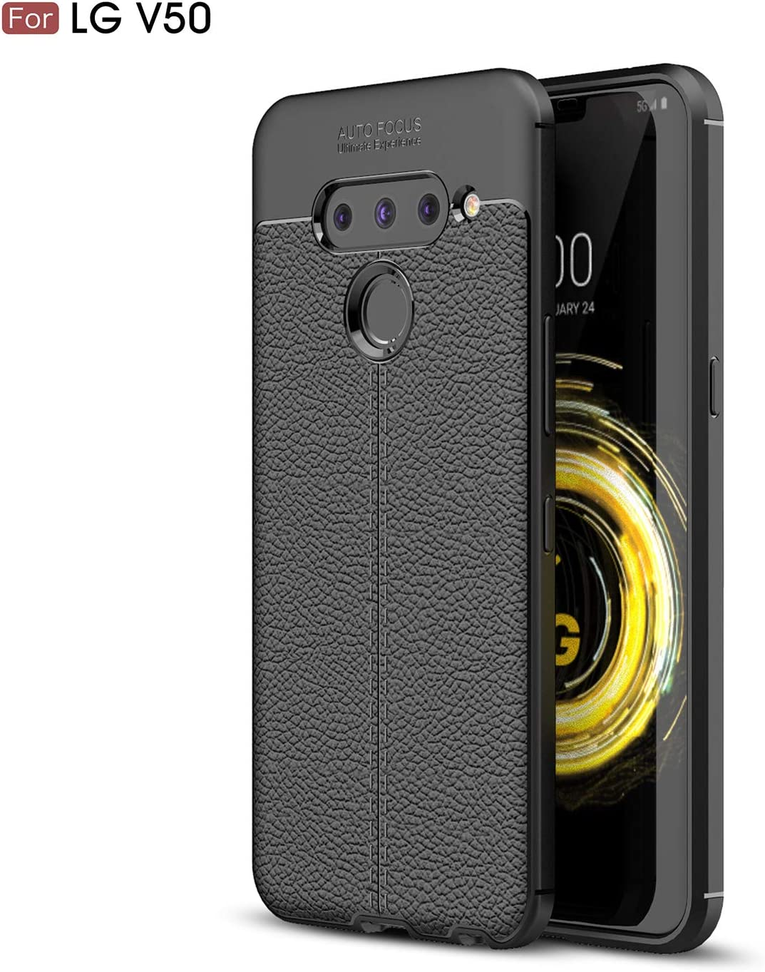 DEVMO Phone Case Compatible with LG V50 TPU Bionic Leather Gel Rubber Full Body Protection Shockproof Cover Case Drop Protection Black