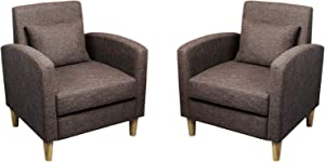 Modern Accent Chairs Set of 2 Fabric Armrest Chair Mid-Century Single Sofa Couch for Bedroom Living Reading Room (Brown Set)