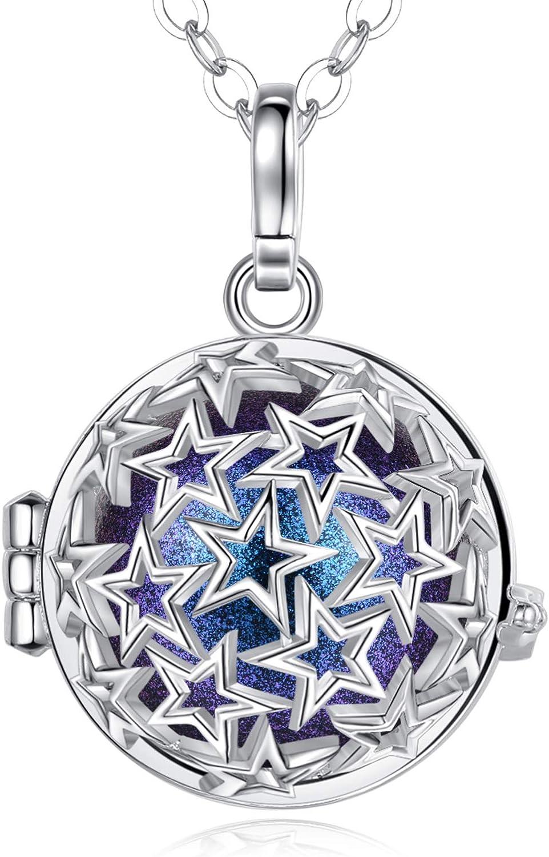 EUDORA Harmony Ball Llamador de Angeles Embarazada Collar Estrellas Colgantes Carillón Música Joyería para Mujer Niña, Regalos Originales de Navidad, Cadena de 114.3cm
