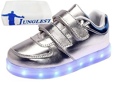 (Present:kleines Handtuch)Silber EU 28, Schuhe Leuchtend Jungen LED Kinder Turnschuhe Schuhe Farbwechsel Fluorescence JUNGLEST® mode Mädchen Sports