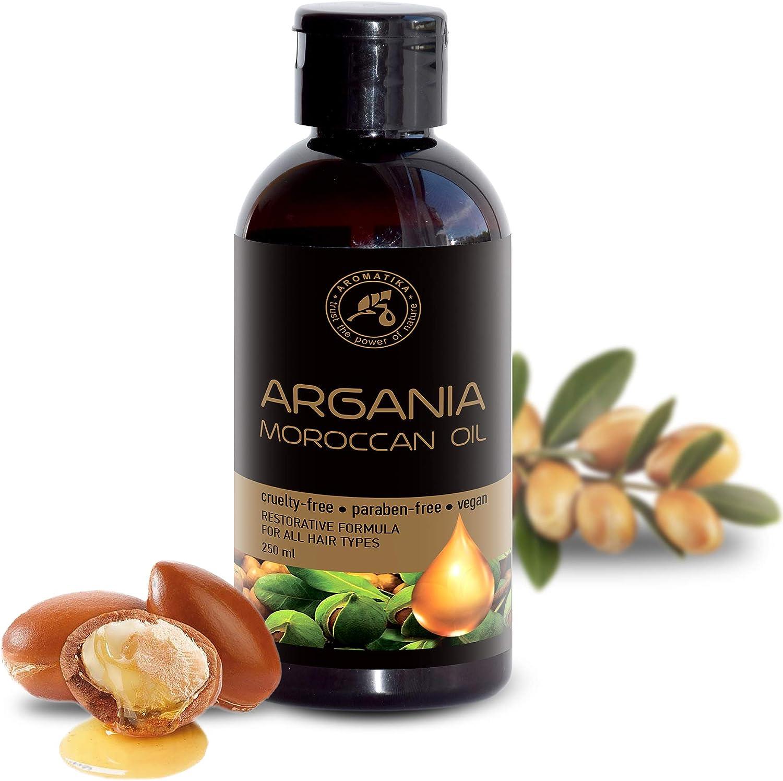 Aceite de Argán 250ml - Argania Spinosa Kernel Oil - Marruecos - 100% Pure & Natural - Mejor Aceite para el Cabello - Grandes Beneficios para la Piel - Cuidado del Cuerpo - Botella de Vidrio