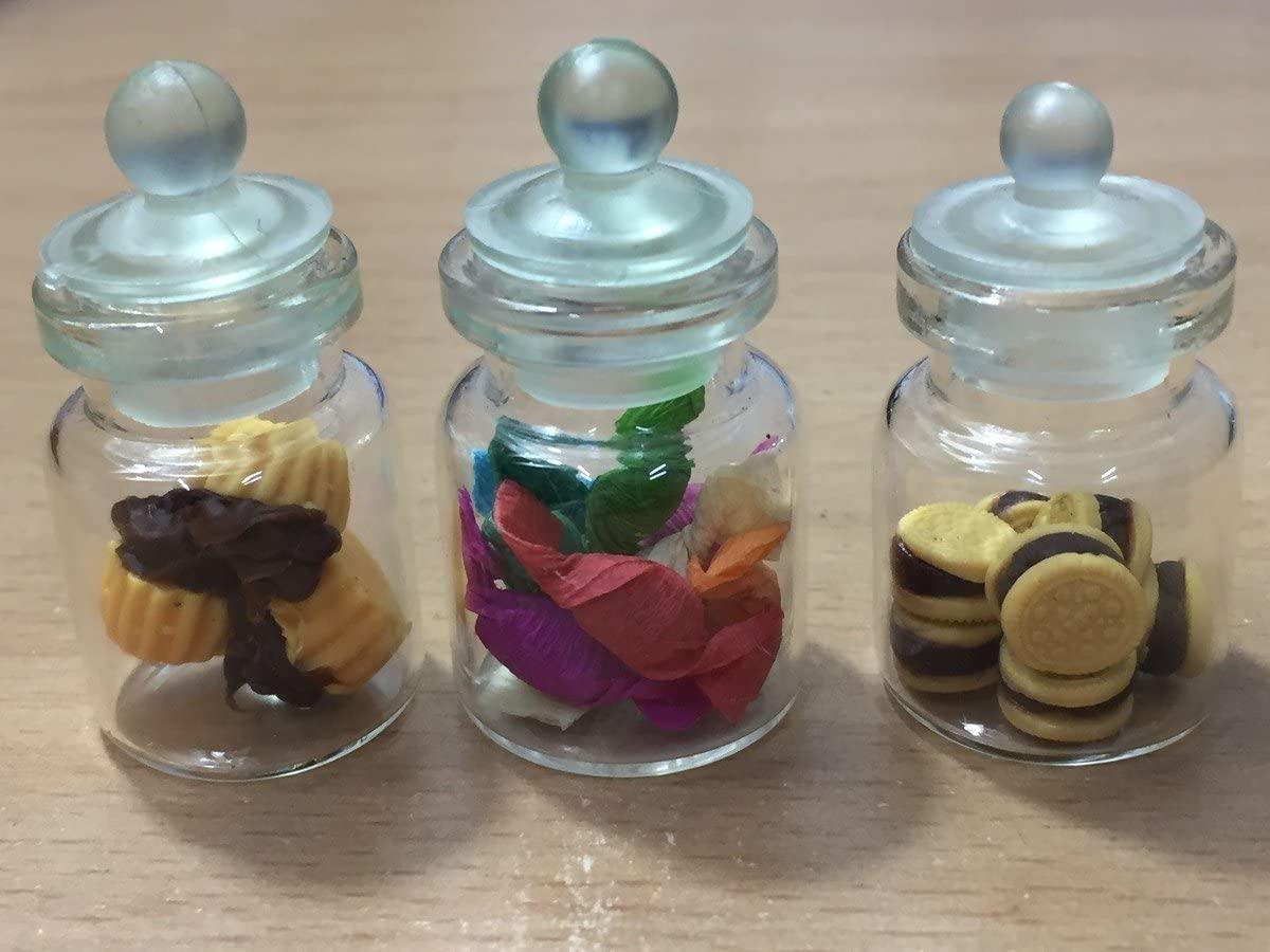 3pc Miniature Cake Food Candy Cookie Dollhouse Cake in Clear Glass Mini Bottle fruit Food #MF010