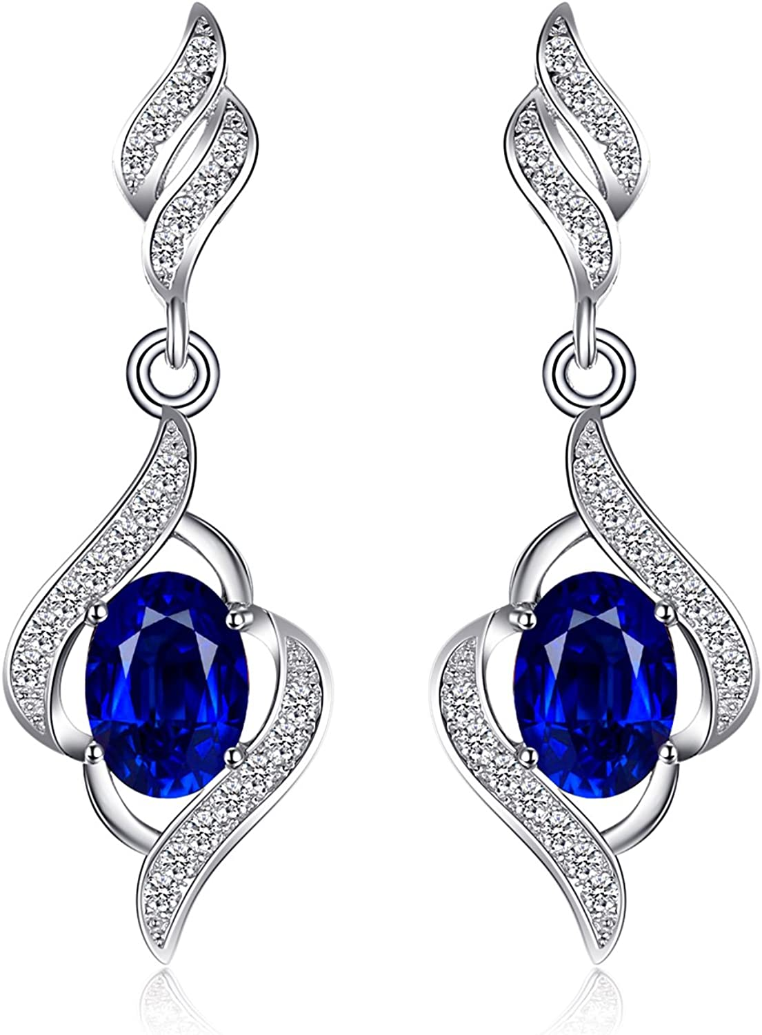 JewelryPalace Pendientes mujeres 2.2ct zafiro azul Plata de ley 925