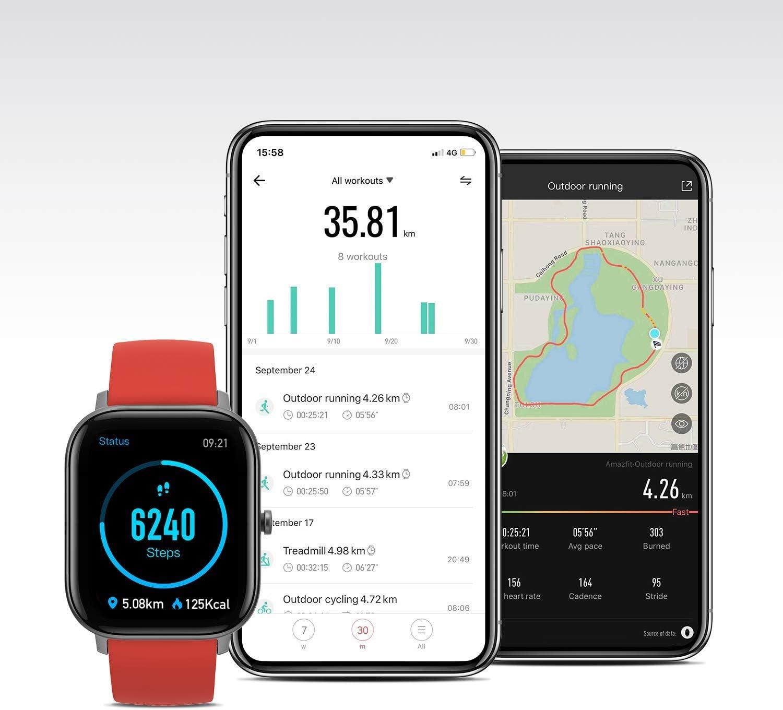 Amazfit GTS Smartwatch Homme Femme Montre Connectée avec 12 Modes Sportifs, GPS Intégré