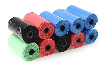 Five Season Stuff- Pack de bolsas para recoger excrementos de perro, material biodegradable, 10 rollos, colores aleatorios