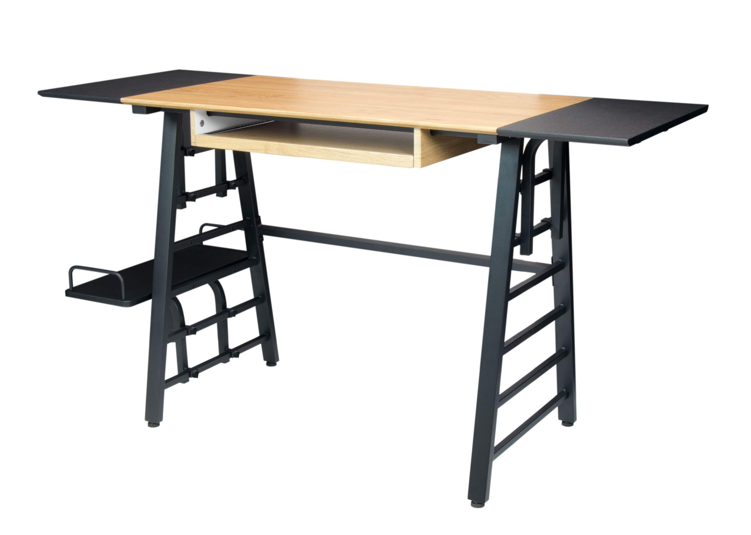 Calico Designs Convertible Art Drawing/Computer Desk for Kids in Ashwood/Graphite 51240 - Overall dimensions: 55.25W x 19.75D x 30H Two Removable table extensions: 9.75W x 19.75D Removable CPU shelf: 7.75W x 19.75D - writing-desks, living-room-furniture, living-room - 71phTRRDBTL -