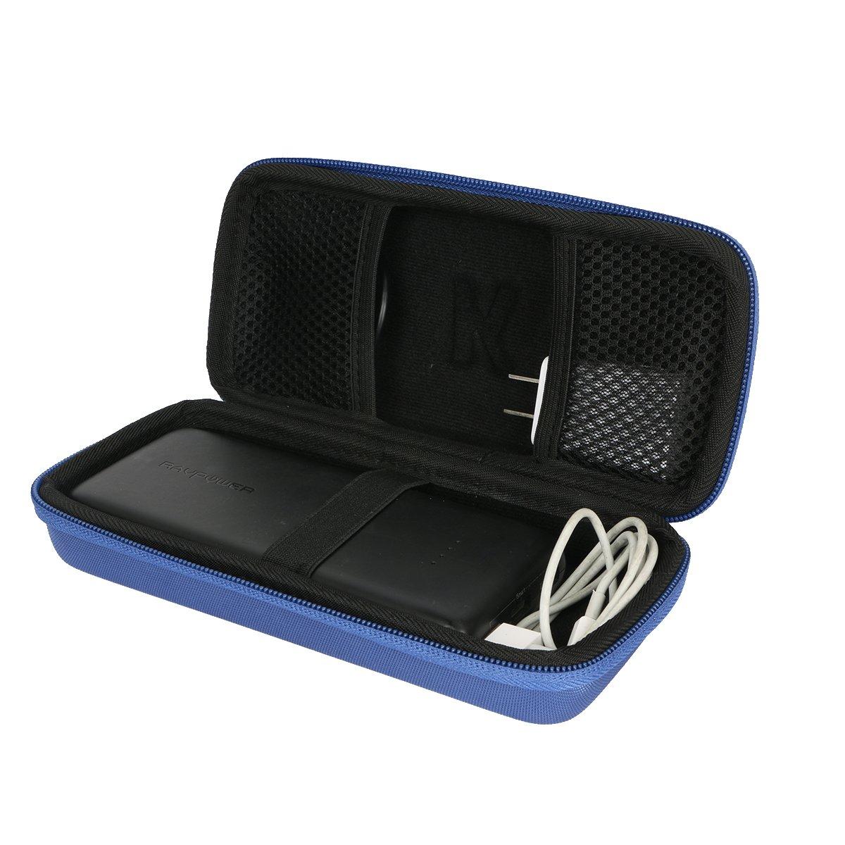 Khanka Hard Travel Case for RAVPower Portable Charger RAVPower 22000mAh Portable Phone Charger 22000 Power Bank 5.8A Output 3-Port Battery Packs (Blue)