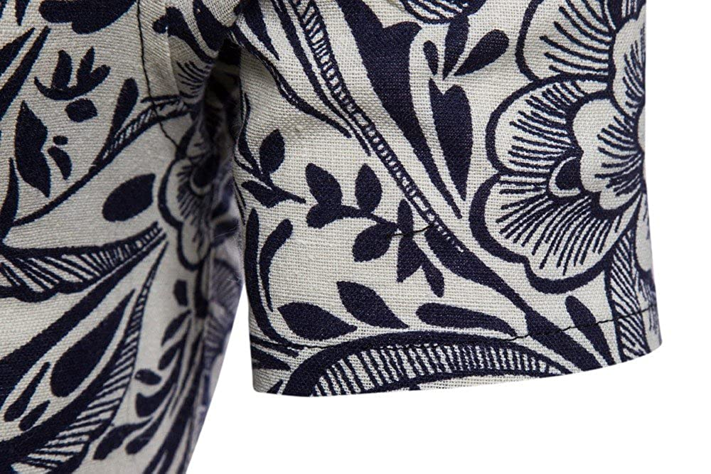 Benficial Men Summer Bohe Floral Hawaiian Print Short Sleeve Linen Basic T Shirt Blouse Top