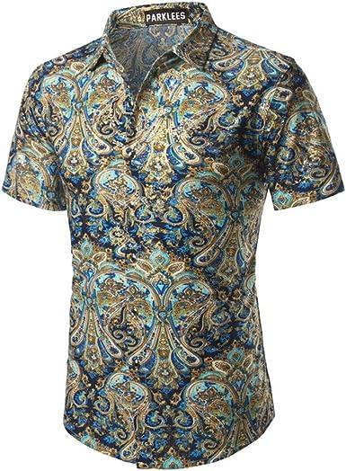 NANSHIZSCS Camisa de hombre Camisa Floral Hombre Verano Camisas De Vestir para Hombre Estampado De Flores Chemise Homme Casual Slim Fit Camisas De Seda, S: Amazon.es: Ropa y accesorios