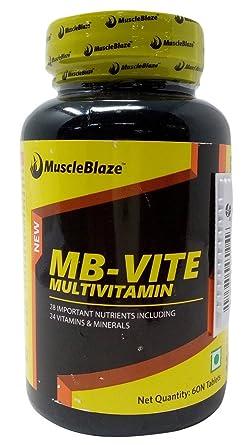 MuscleBlaze MB Vite Multivitamin Tablets, 60 Pieces Jar Vitamins, Minerals   Supplements