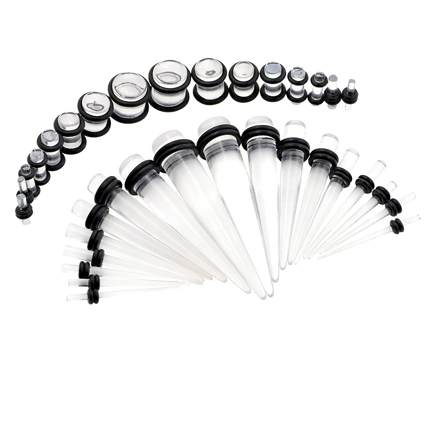 36Pcs Acrylic Taper Kit with Plugs Double O-rings 14G-00G Stretching Kit Multi-colors X069-bk