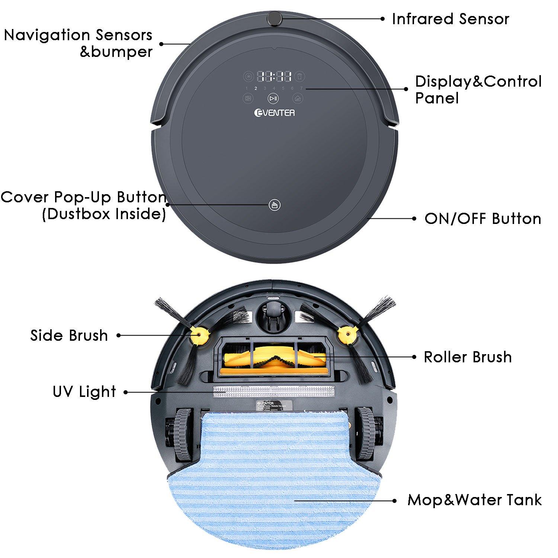 Eventer vacío robot de limpieza potente con ventosa, UV esterilizar luz por pelo Limpiador y escoba para bajo duro alfombra floors-gray: Amazon.es: Hogar