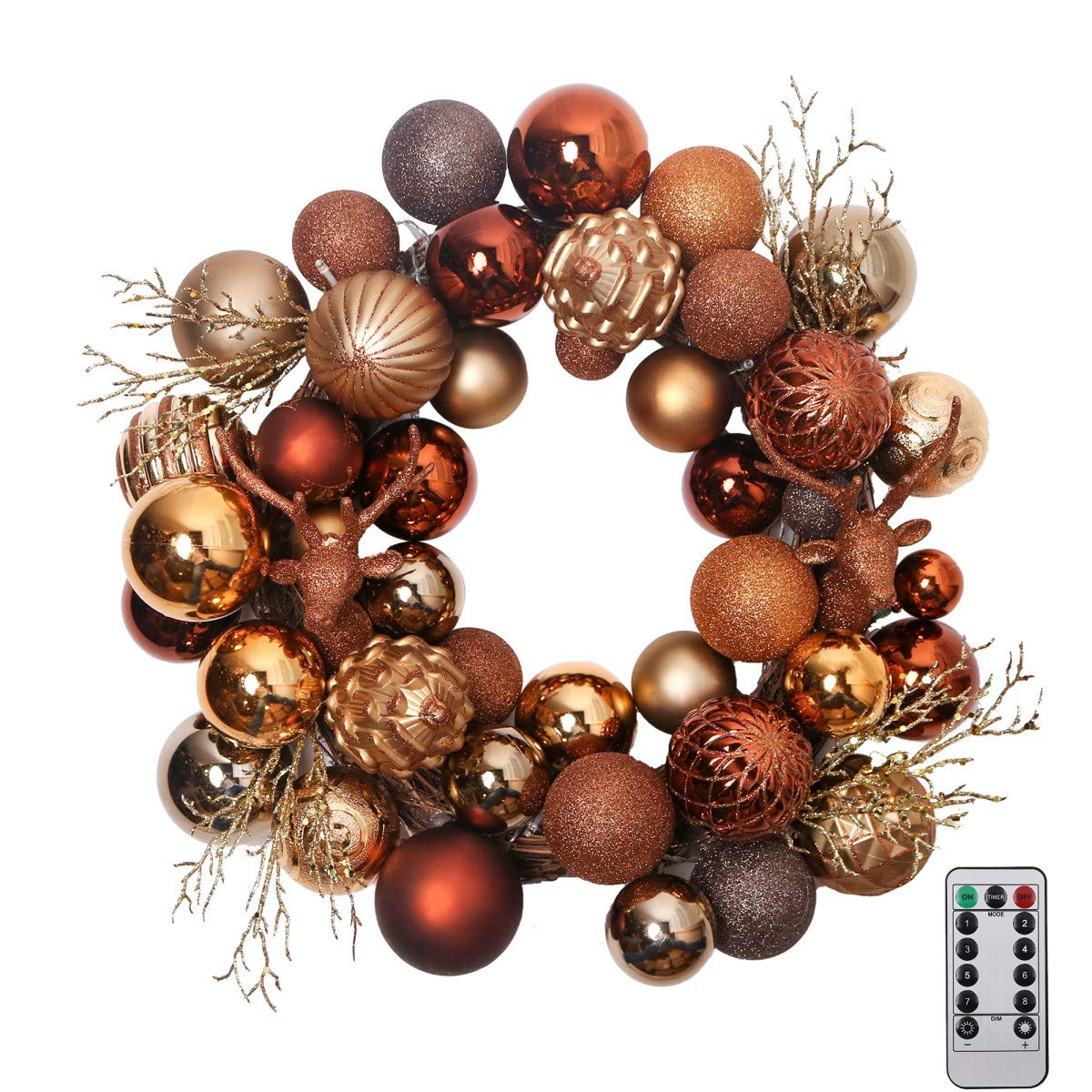 Valery Madelyn 20'' Pre-Lit Woodland Christmas Wreath with Shatterproof Ball Ornaments, Rattan Base with 20 LED Lights, Remote and Timer Included, Themed with Tree Skirt(Not Included)