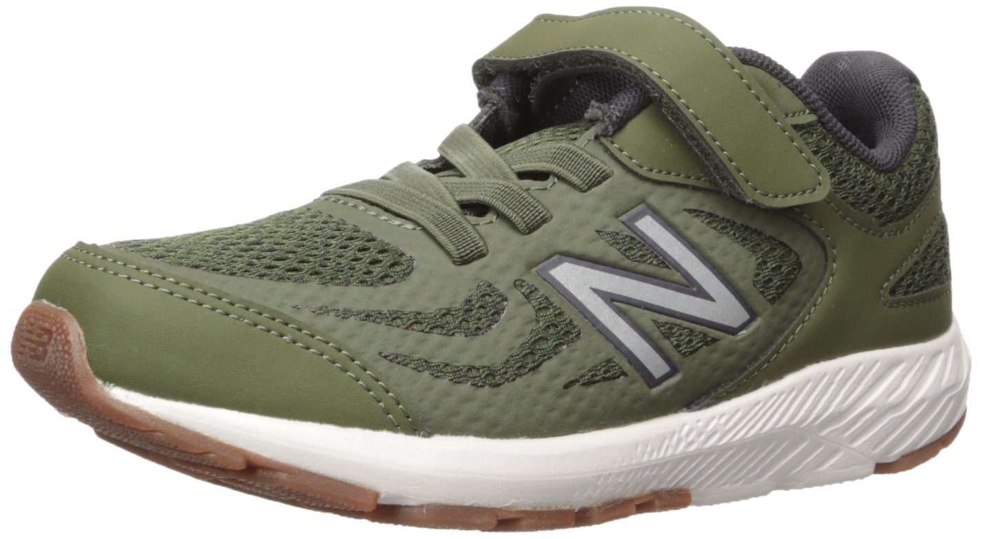New Balance Boys' 519v1 Hook and Loop Running Shoe Dark Covert Green/Phantom 2 M US Infant