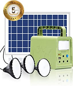 WAWUI Portable Power Station with Solar Panel, 84Wh, Solar Generator Kit with Flashlights for Home Emergency Backup Power, Camping Lights with Battery, USB DC Outlets, for Travel Fishing Hunting