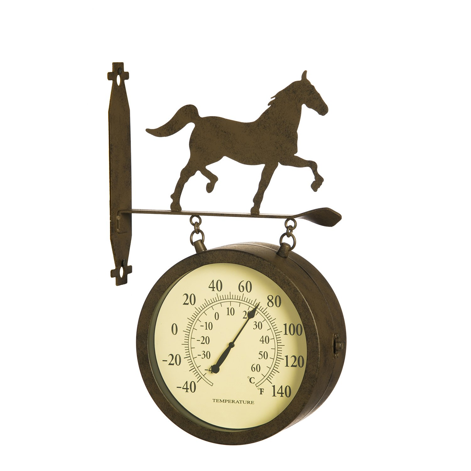 Cape Craftsmen Rusted Horse 2-Sided Outdoor Safe Metal Clock and Thermometer