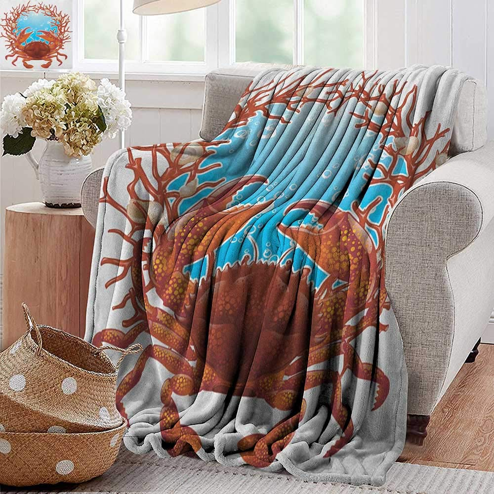 color15 50\ color15 50\ XavieraDoherty Swaddle Blanket,Seashells,Crab Spiral Seashells and Red Coral Frame Aquarium Claws Nature, Dark orange Burgundy White,Lightweight Extra Soft Skin Fabric,Not Allergic 50 x70