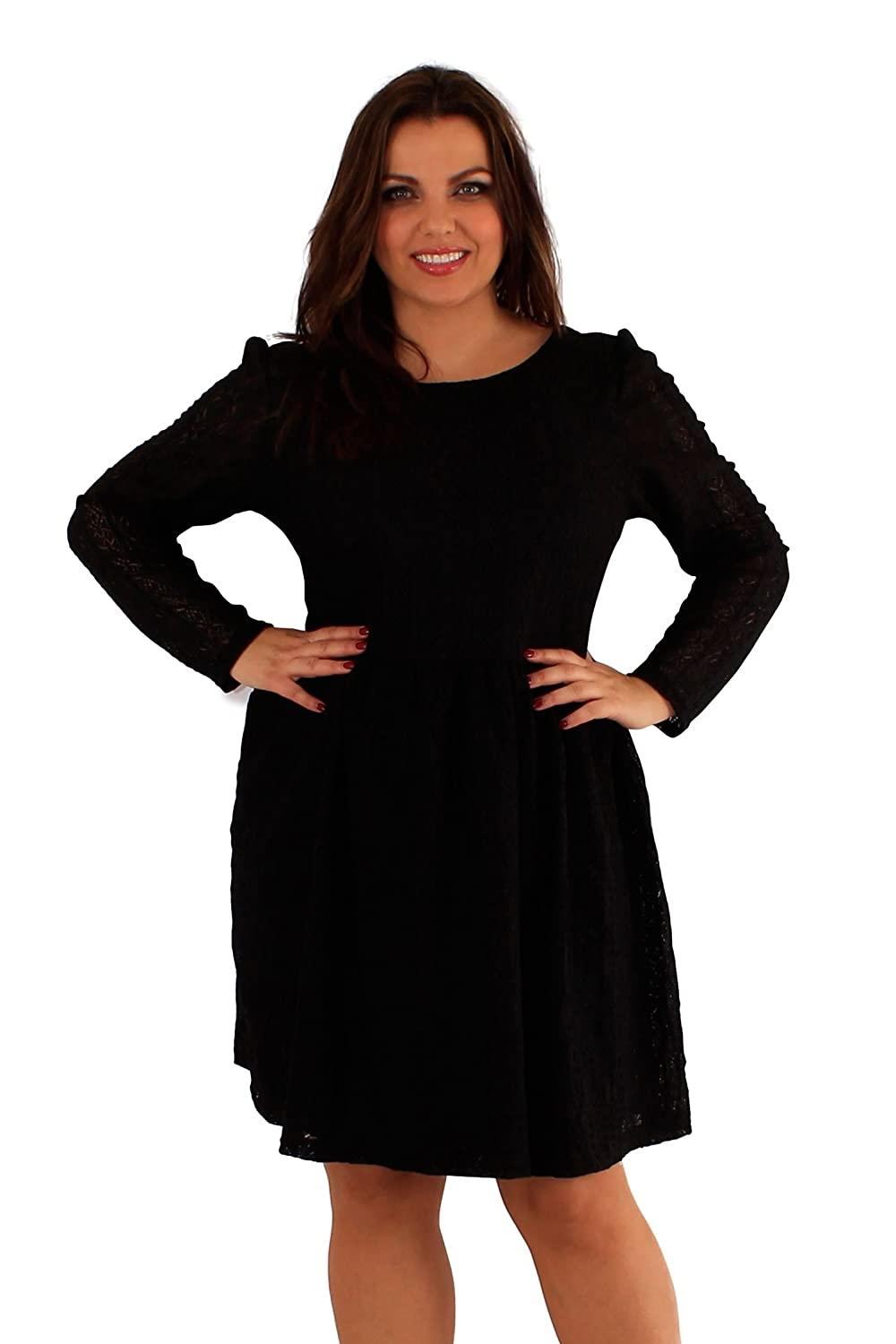 78d54951745 New Womens plus size lace Lined Full Sleeve Party Skater Dress   Amazon.co.uk  Clothing