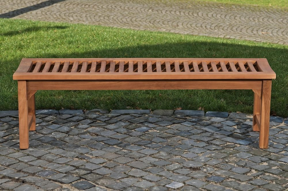 CLP Teakholz-Gartenbank Havana V2 ohne Lehne I Holzbank für den Garten I In Verschiedenen Größen wählbar 200 x 45 x 45 cm