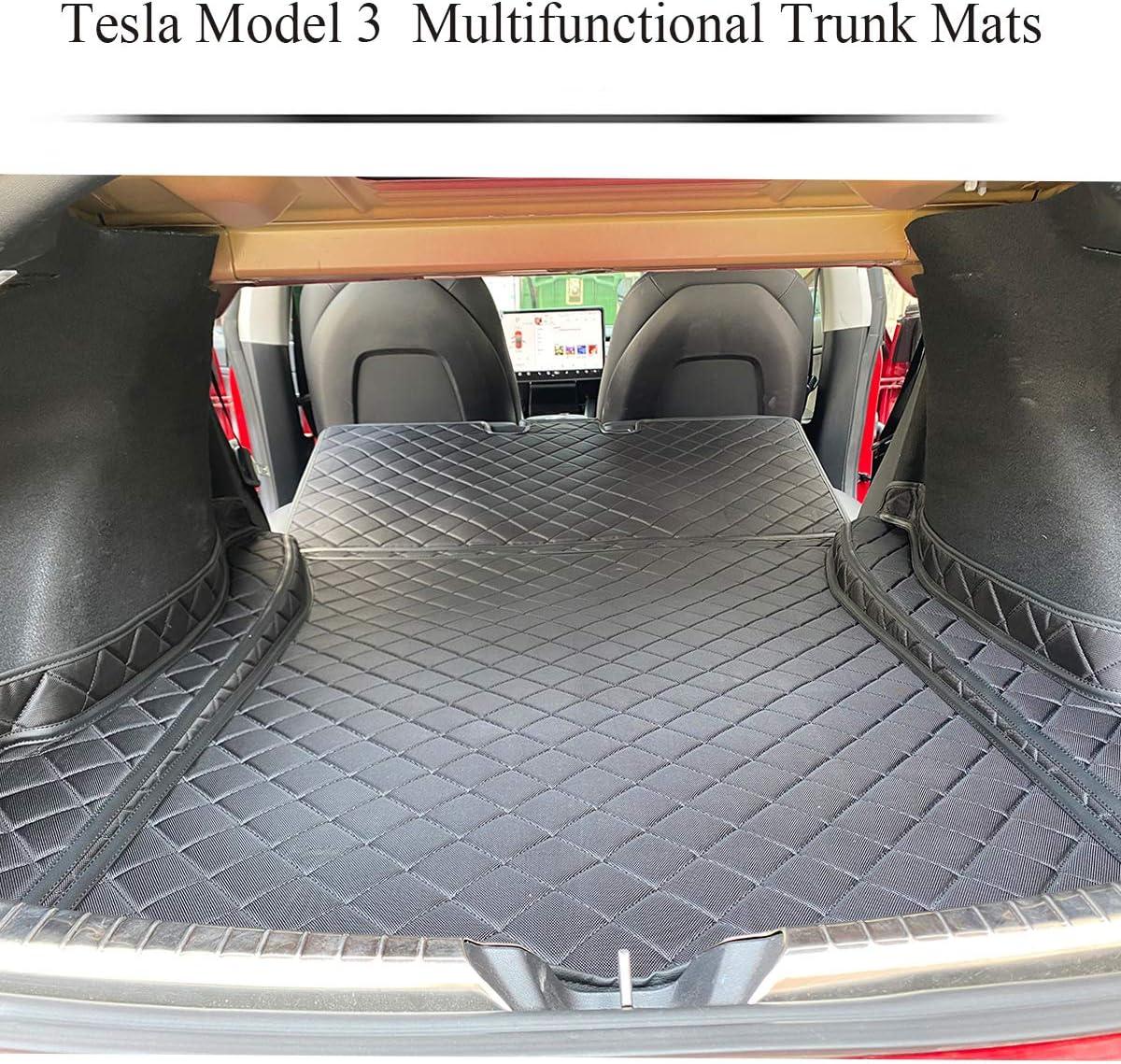 Topfit Tesla Model 3 Kofferraummatten Kofferraum Haustier Matten Wasserdichte Rutschfeste Schutzlehne Rückenlehnenmatten Mit Oxford Material Für Tesla Model 3 Zubehör Auto