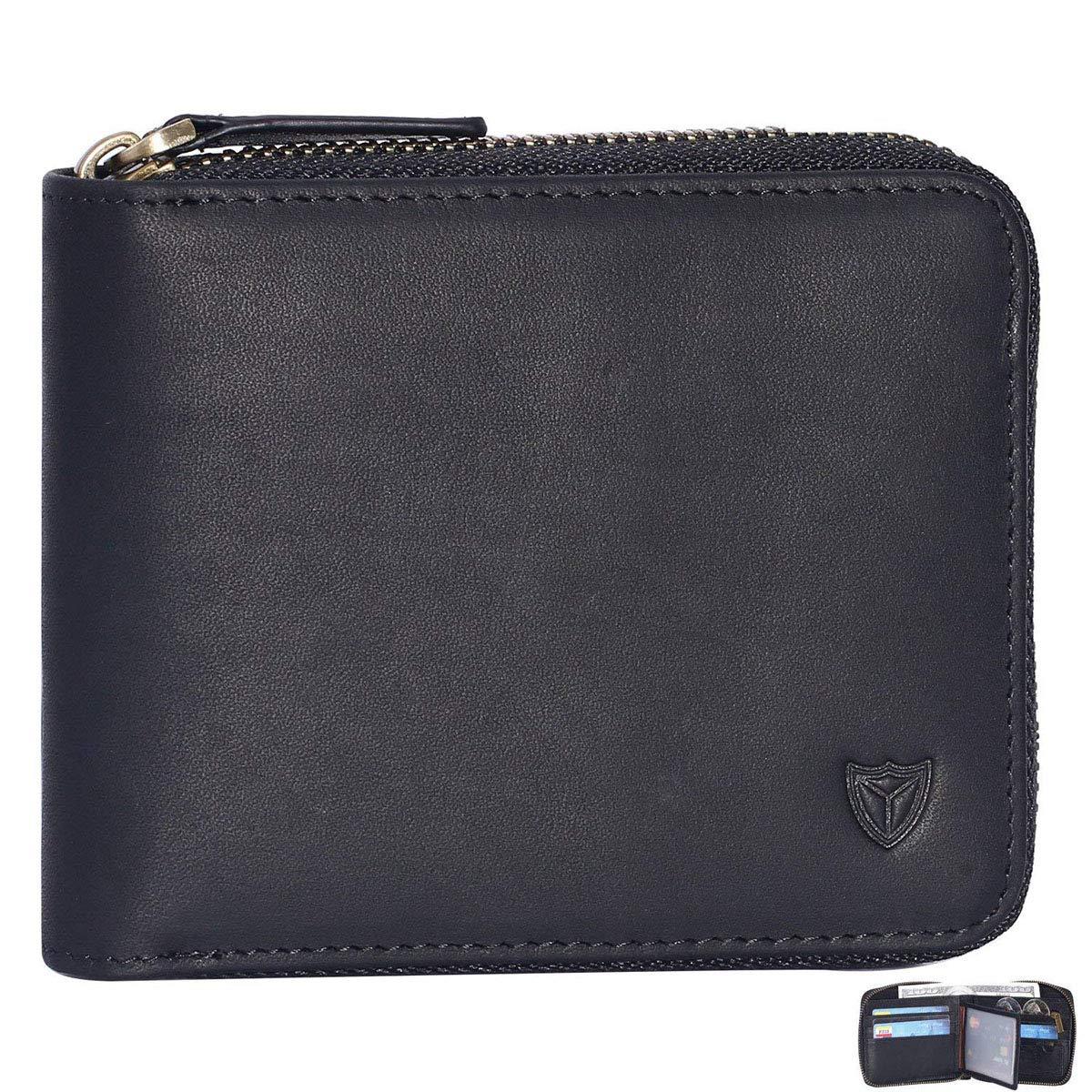 RFID Men's Leather Zipper wallet Zip Around Wallet Bifold Multi Card Holder Purse (Black)
