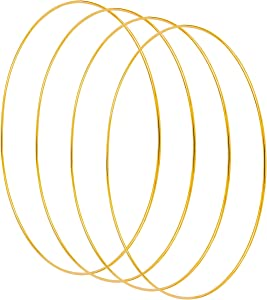 Yaromo 4 Pack Metal Floral Hoop, Floral Hoop Wreath Gold Ring for DIY Wedding Wreath Decor, Dream Catcher and Macrame Wall Hanging Crafts (Gold,14inch)