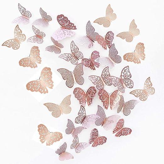 JUN-H 36 Piezas Mariposas 3D Mariposas Decorativas Pegatinas de ...