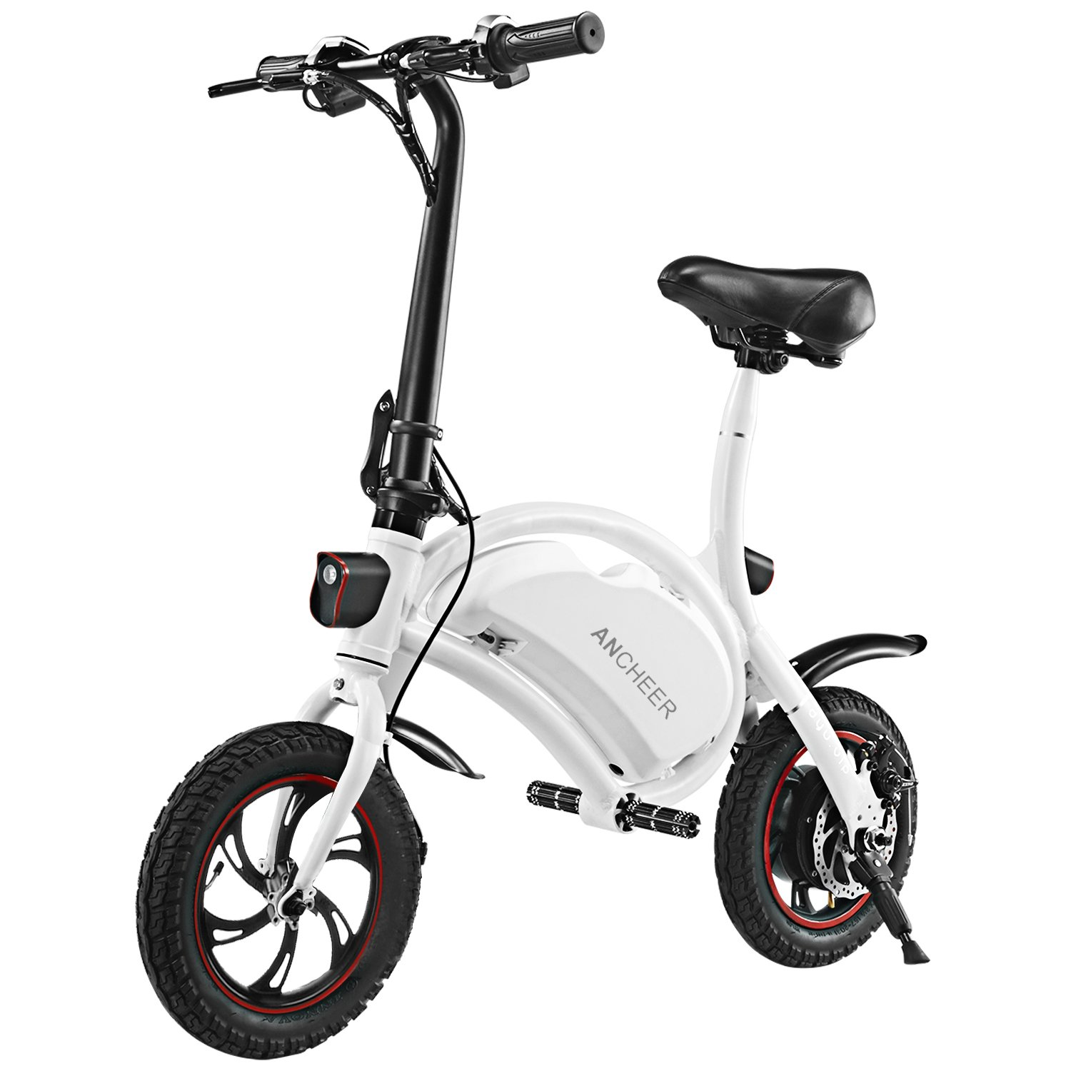 ANCHEER Folding Electric Bicycle/E-Bike/Scooter 350W Ebike with 12 Mile Range, APP Speed Setting (Seller-Fulfilled White-6AH)