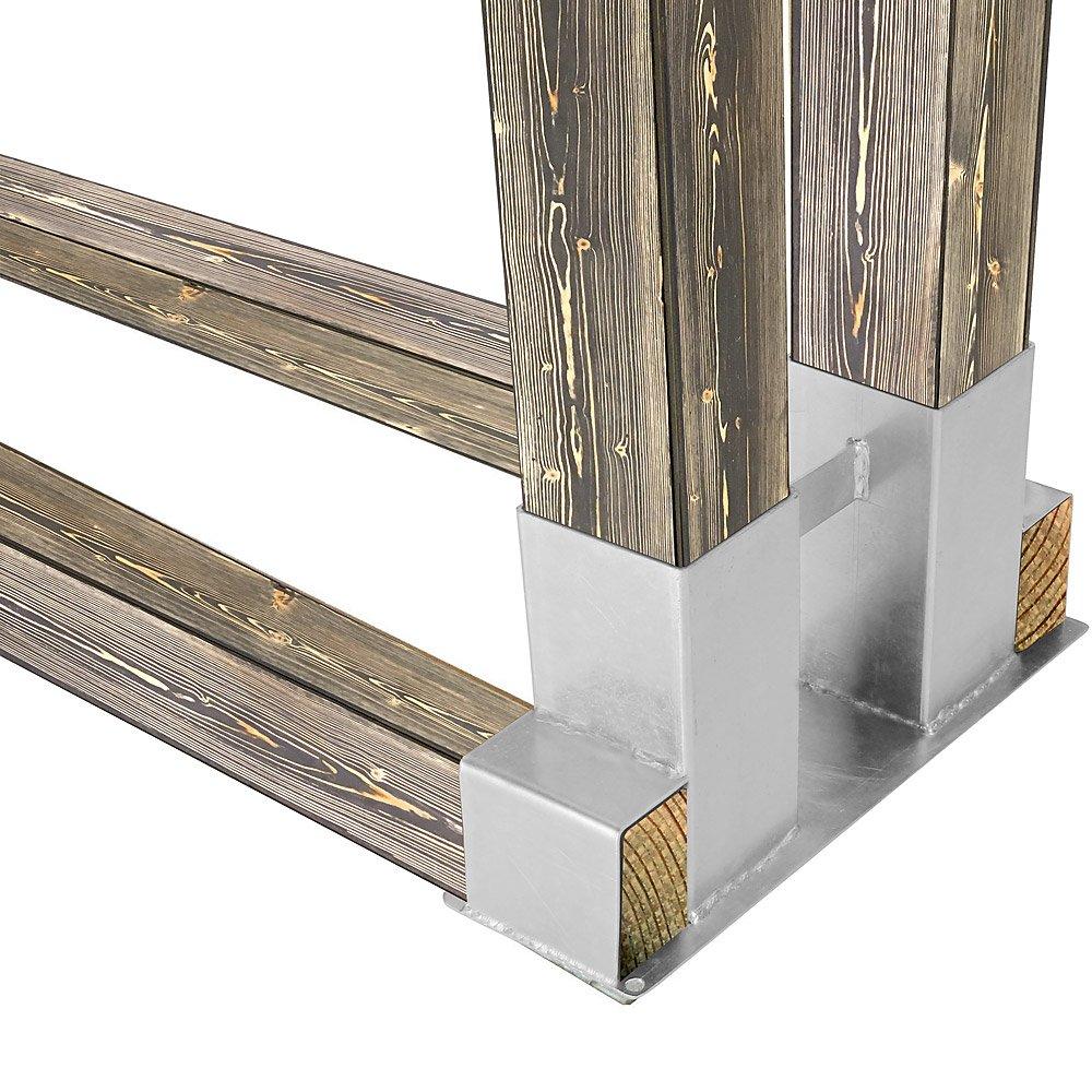 Estufa de leña para leños de madera estante de almacenamiento 4pcs DIY ajustable soporte galvanizado acero apilables sistema de ayuda para apilar chimenea ...