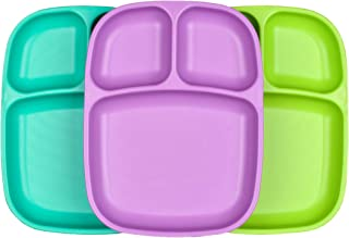 product image for Re-Play Set of 3 - Made in The USA Deep Divided Heavy Duty Dining Plates with 3 Compartments for All Ages - Aqua, Purple, Lime Green (Mermaid)