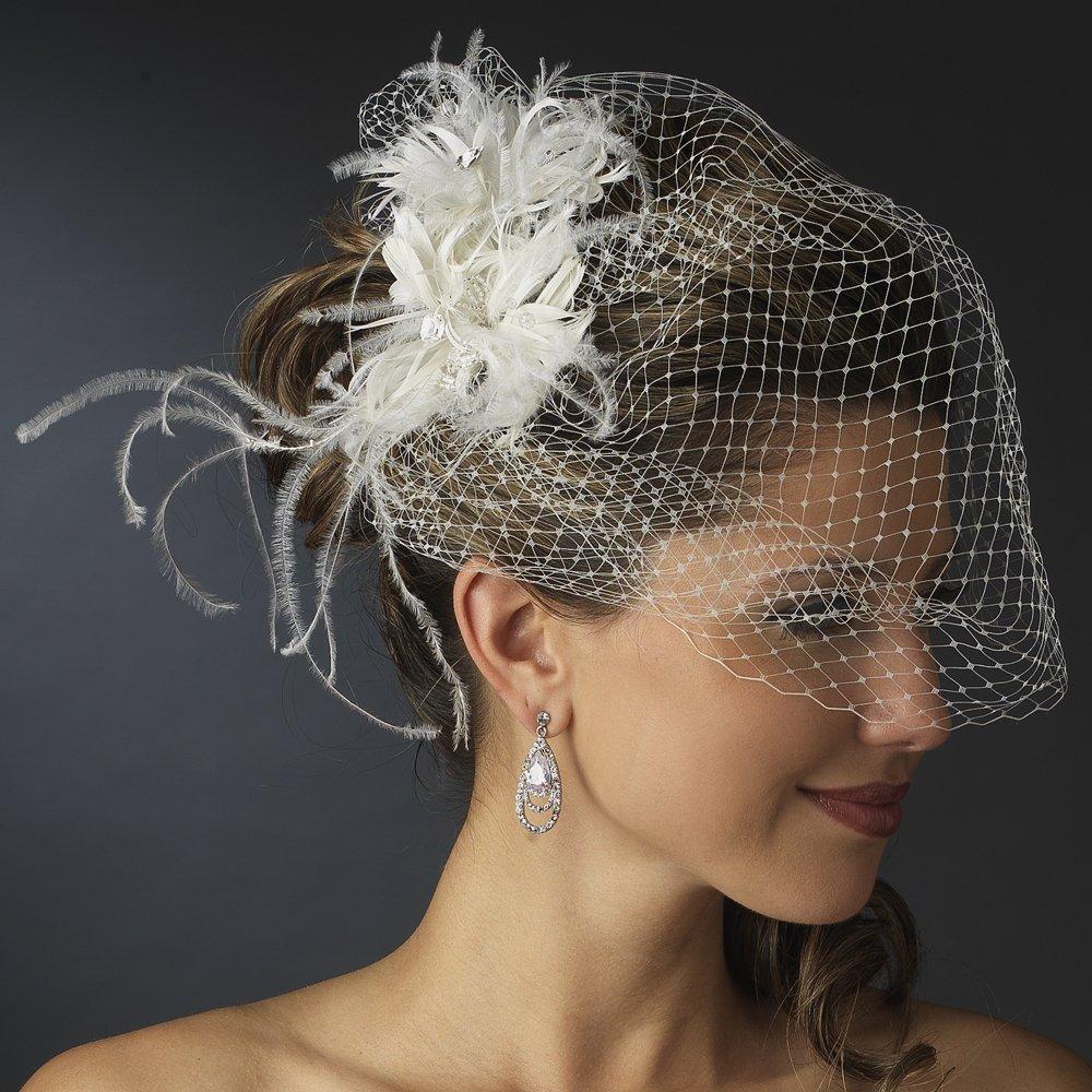 Ekaterina Stunning Feather & Austrian Crystal Bridal Comb on Birdcage Veil - White by Fairytale Bridal Tiara