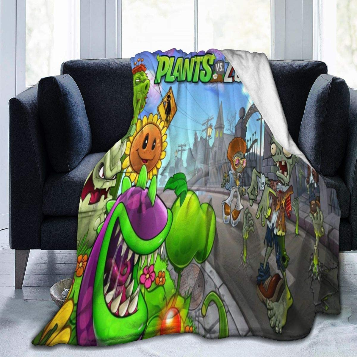 Soft blanket,Plants Vs. Zombies Small Plush Blankets That Keep Warm Throughout The Seasons, Light-Weight Warm And Anti-Flocking Flannel Blankets, Used For Sofa Beds, Air-Conditioning Quilts50