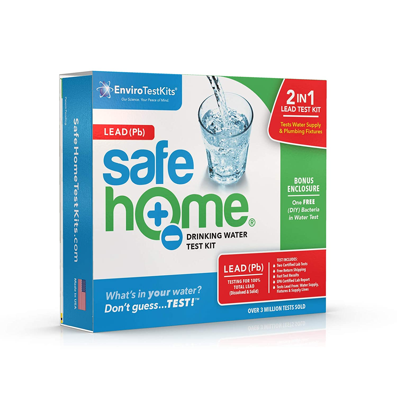 Safe Home LEAD in Drinking Water Test Kit – #1 Selling Kit for Testing Lead in CITY & WELL WATER – Two Samples Tested at Our EPA Certified Lab – Don't Guess…Test!