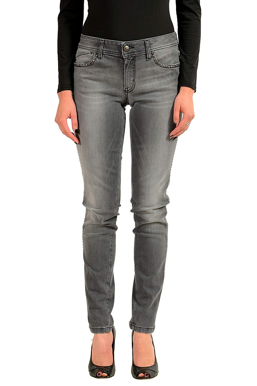 Just Cavalli Luxury Gray Embellished Womens Skinny Leg Jeans US 4 IT 26