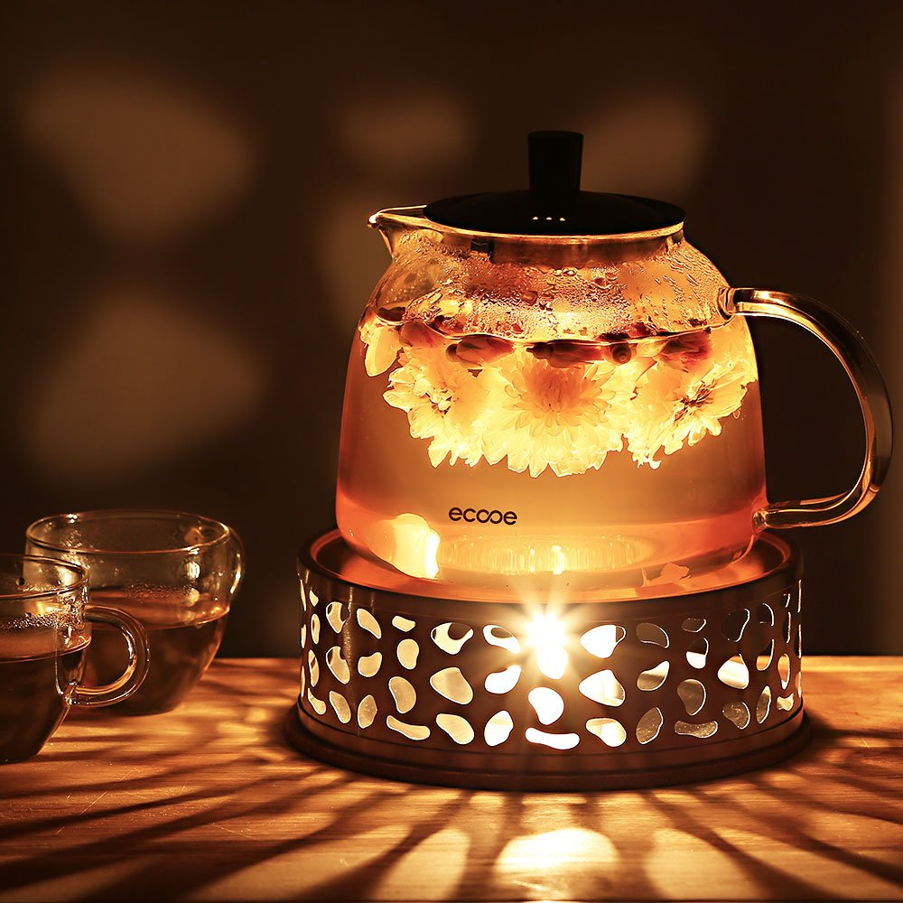 Ecooe Stainless Steel Teapot Warmer Base with Hollow Frame Design Candle Holder, Tealight Warmer for Borosilicate Glass Teapots and more