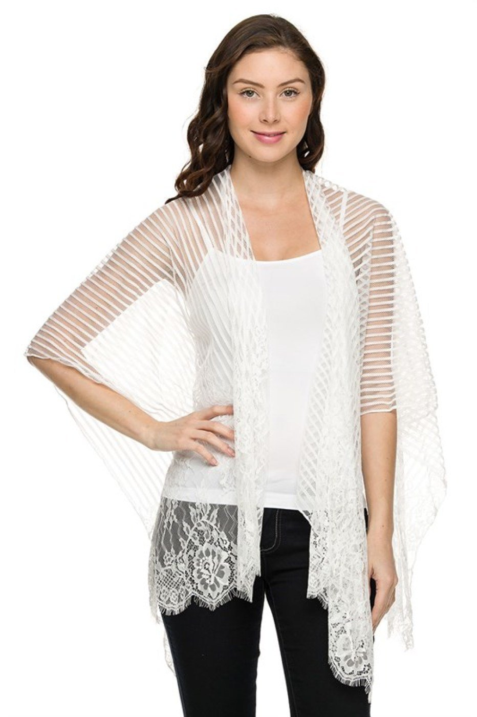 3//4 Sleeve Sheer Floral Lace Open Front Cardigan