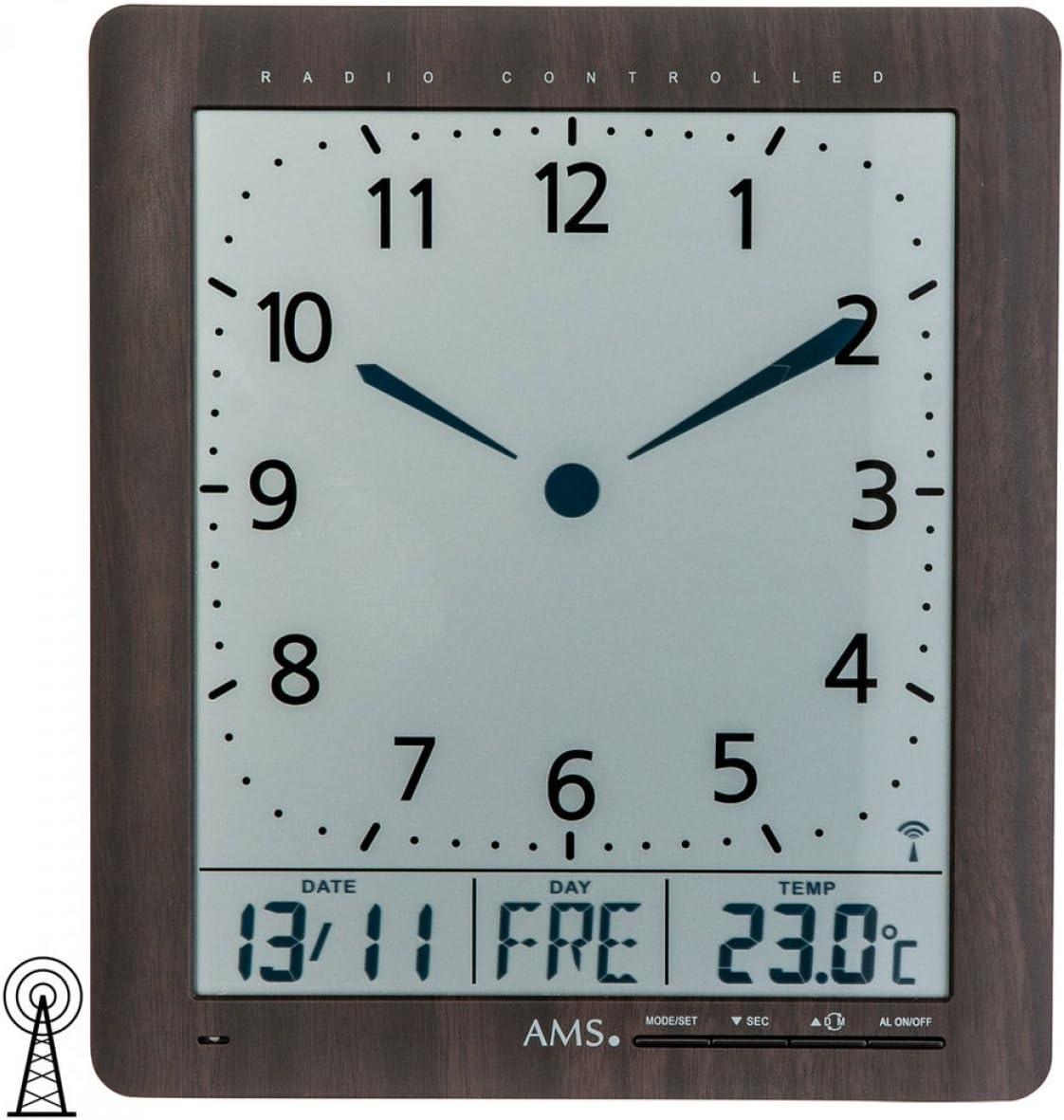 AMS 5853 Horloge Radio Funkwanduhr analogique environ laiton couleurs verre avec Aluminium
