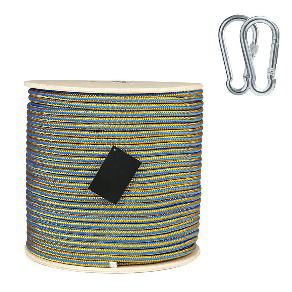 11.5 mmクライミングロープ、ホームファイア緊急用エスケープロープ多機能洗濯物用耐摩耗性安全ロープ、ハイキング用ケイビングキャンプエンジニアリングレスキュー用品、ブルー,25m  25m