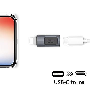 Stouchi Adaptador de iOS a USB C, Tipo C (Hembra) a iOS (Macho ...