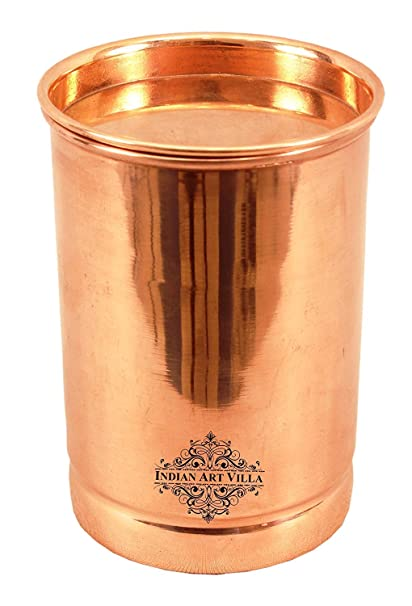 Indian Art Villa Pure Copper Glass With Lid, Plain Design Tumbler Cup For Water Storage, 300 Ml