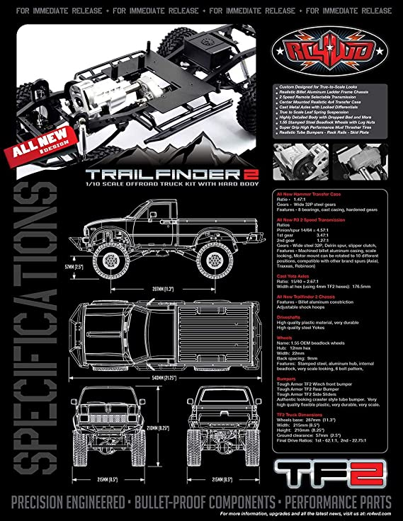 RC4WD Trail Finder 2 Truck Kit Mojave II Body Grey 4x4 Scaler TF2 Z-K0049 Chassis
