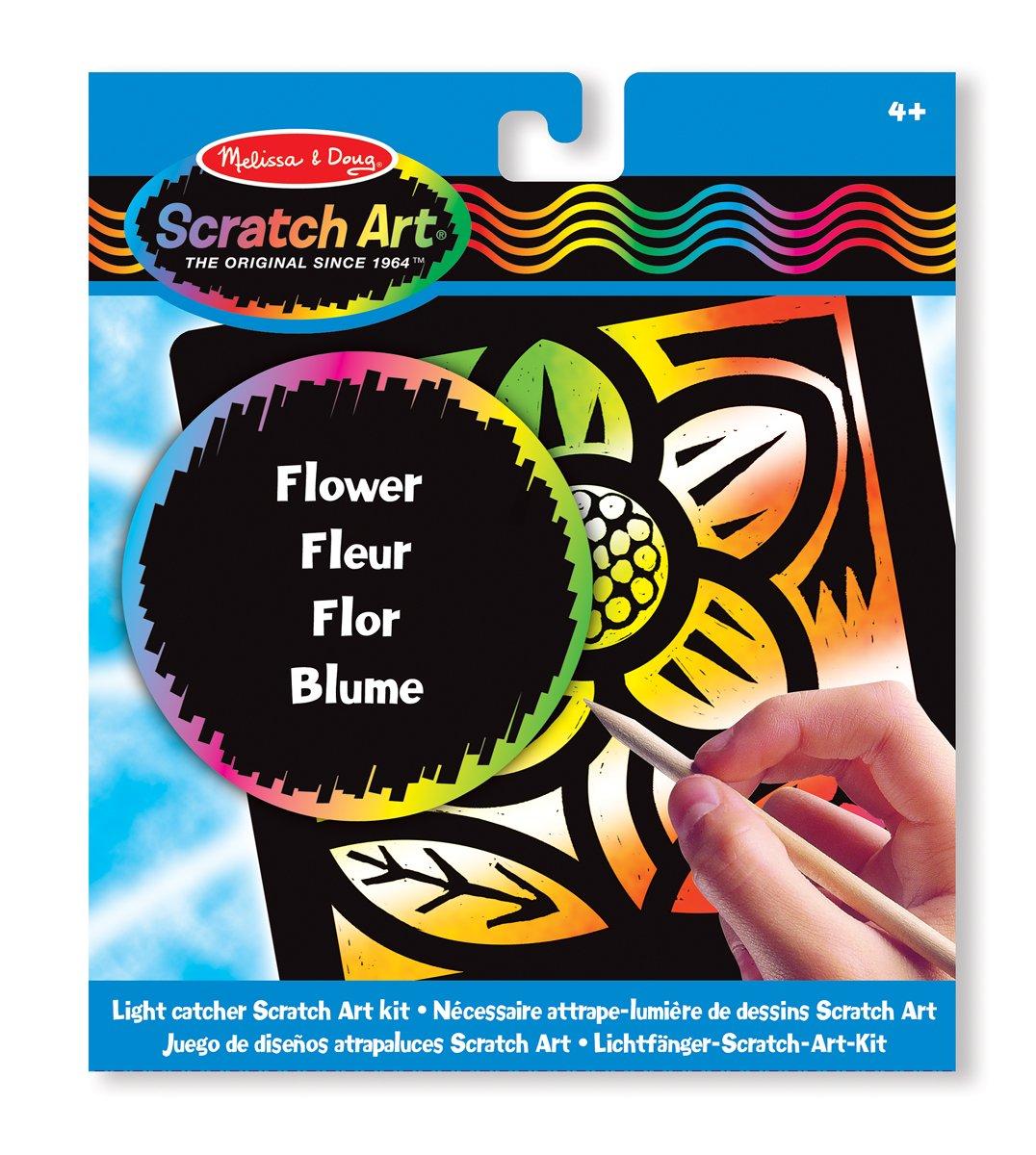 Kit De Loisirs Cr/éatifs Fleur N/écessaire Attrape-lumi/ère De Dessins Scratch Art Melissa /& Doug 15888