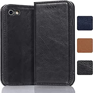 iPhone 8 Wallet Case iPhone 7 Leather Case, Luxury Genuine Leather Wallet with Card Slots, Leather Flip Case with Kickstand and Magnetic Closure for iPhone 8/7 4.7 Inch (Black)