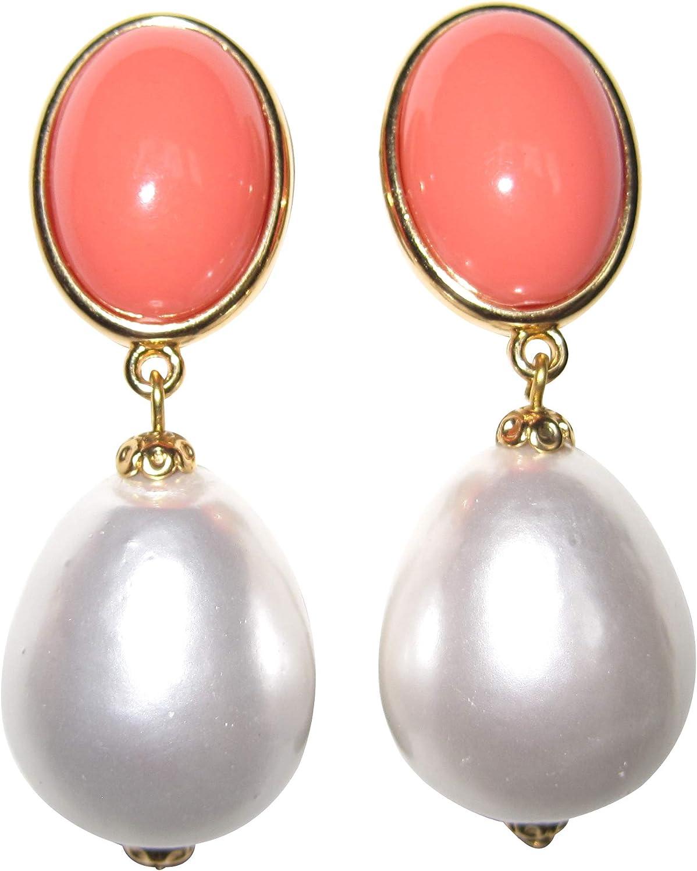 Pendientes de clip de color naranja y blanco, muy grandes, dorados, con colgante de piedra naranja y perla blanca, diseño de gota.
